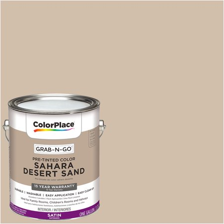 Desert Tan Paint (ColorPlace Pre Mixed Ready To Use, Interior Paint, Sahara Desert Sand, Satin Finish, 1 Gallon)