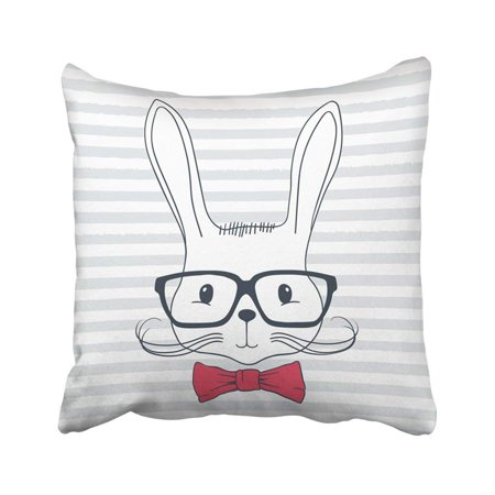 BPBOP Animal Rabbit Hipster On Hoody Bags And Other Uses Cartoon Bunny Glasses Graphic Bow Child Pillowcase 20x20 inch