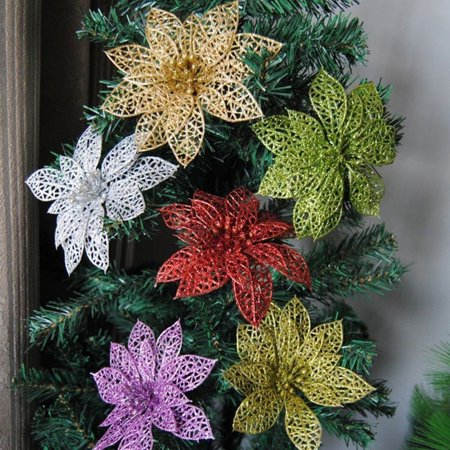 Zerone Zerone Christmas Flowers Glitter Hollow Wedding Party Decor Christmas Tree Decorations - Walmart.com