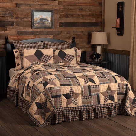 Pitch Black Classic Country Bedding Denton Cotton Pre-Washed Patchwork Star King Quilt