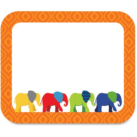 Carson-Dellosa Parade of Elephants Colorful Name Tags Brighten your classroom with these fun, self-adhesive name tags from the Parade of Elephants collection. Stay organized and get creative using these ready-to-use name tags for games, storage boxes, charts, folders and more. The name tags are also perfect for class trips or open houses. Look for coordinating products in this design to create an exciting and cohesive classroom theme. Set includes 40 self-adhesive name tags (3  x 2-1/2 ). Name tags are designed for use in prekindergarten to fifth-grade classrooms.Carson-Dellosa Parade of Elephants Colorful Name Tags, Multicolor, 40 / Pack (Quantity)