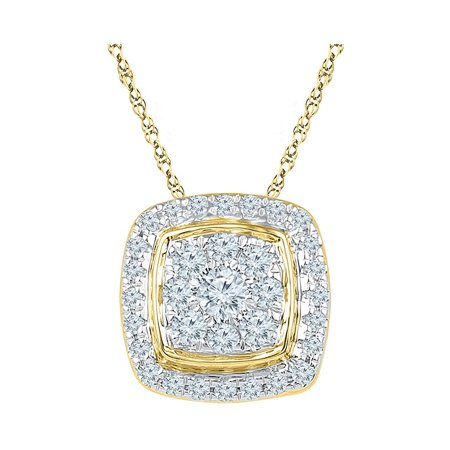 - 10kt Yellow Gold Womens Round Diamond Square Cluster Fashion Pendant 1/2 Cttw