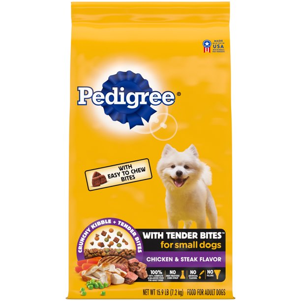 PEDIGREE with Tender Bites Complete Nutrition Adult Small Breed Dry Dog Food, Chicken & Steak Flavor, 15.9 lb. Bag