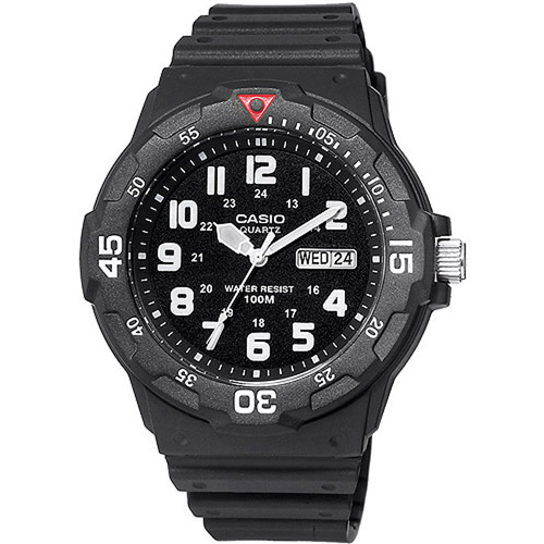 Casio Men's 43mm Analog Dive-Style Watch, Black Resin