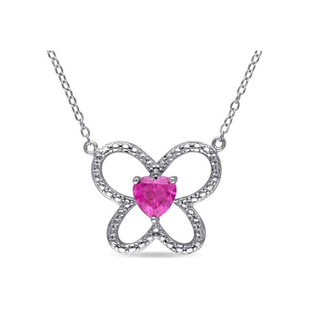 Butterfly Rugby (1.00 Carat (ctw) Lab Created Ruby Butterfly Heart Pendant Necklace in Sterling Silver with)