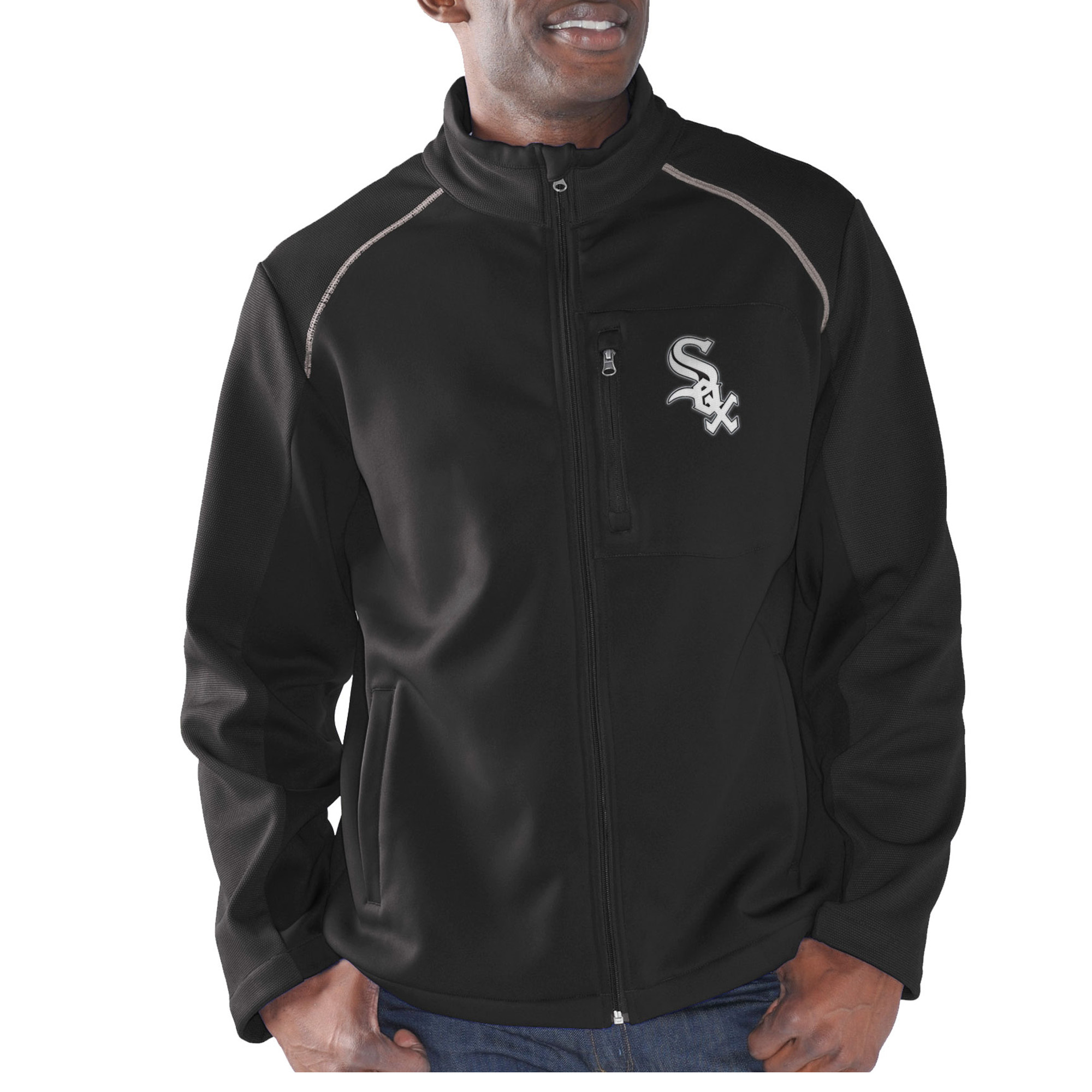 Men's G-III Sports by Carl Banks Black Chicago White Sox Rebound Full-Zip Fleece Jacket by G-III LEATHER FASHIONS INC