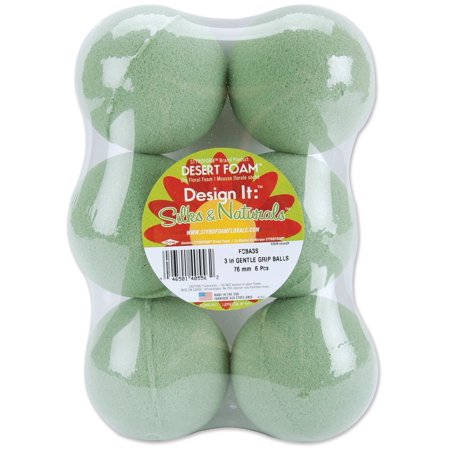 Citrus Floral Foam - Dry Foam Ball, Green, 3-Inch, 6-Pack, Ideal for a delicate dried floral and silks By FloraCraft Ship from US