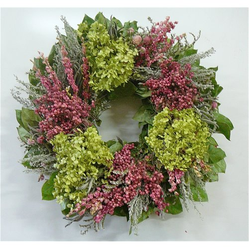 Dried Flowers and Wreaths LLC 22'' Hydrangea and Pink Floral Wreath