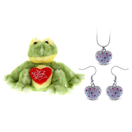 Frog Jewelry - Super Soft Plush and Jewelry and Jewelry Dollibu Cute Green Frog I Love You Valentines Plush and Aqua Jewelry Pink Heart Sparkling Necklace and Aqua Jewelry Pink Heart Sparkling Earrings
