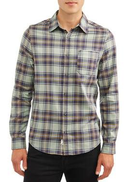 Como Man Men's Long Sleeve Stretch Plaid Shirt