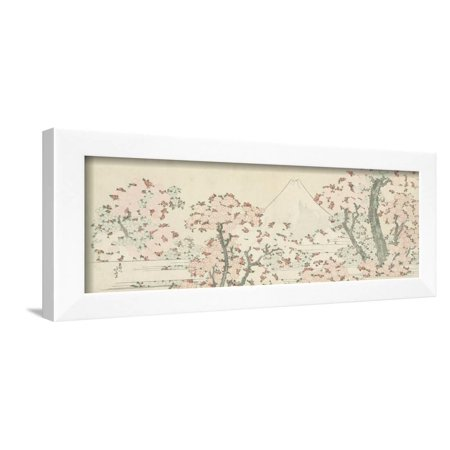 The Mount Fuji with Cherry Trees in Bloom Framed Print Wall Art By Katsushika Hokusai