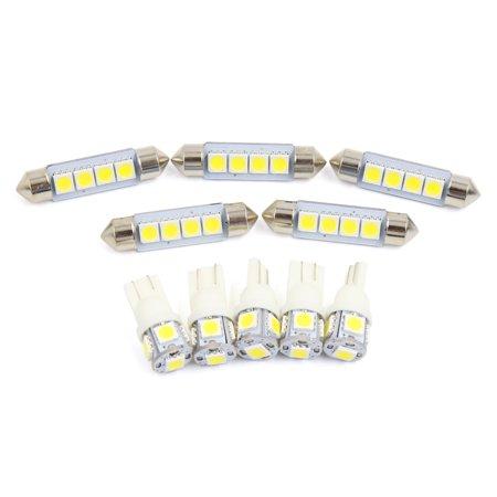 10x for  RAM 1500 2009-2016 White Car  Light Bulbs Interior Package -