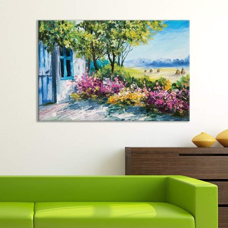 Wall26 Canvas Wall Art Of Small House On Beautiful Flowery Plain Oil Painting 32 X 48