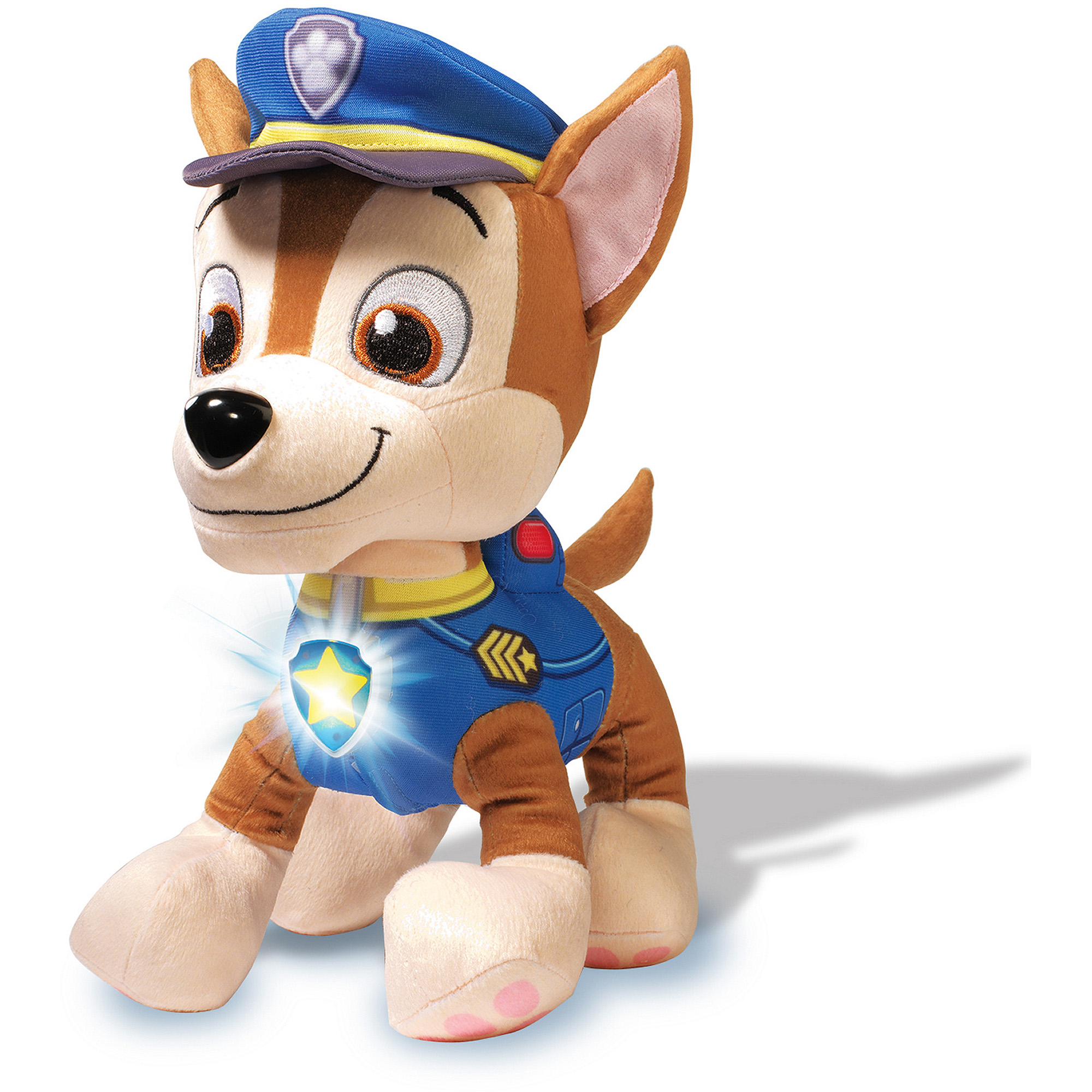 Paw Patrol- Deluxe Lights and Sounds Plush- Real Talking Chase