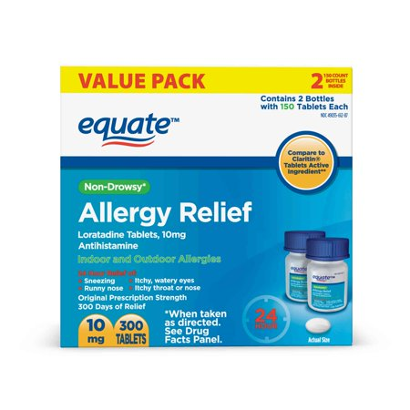Equate 24 Hour Non-Drowsy Allergy Relief Loratadine Tablets, 10 mg, 300