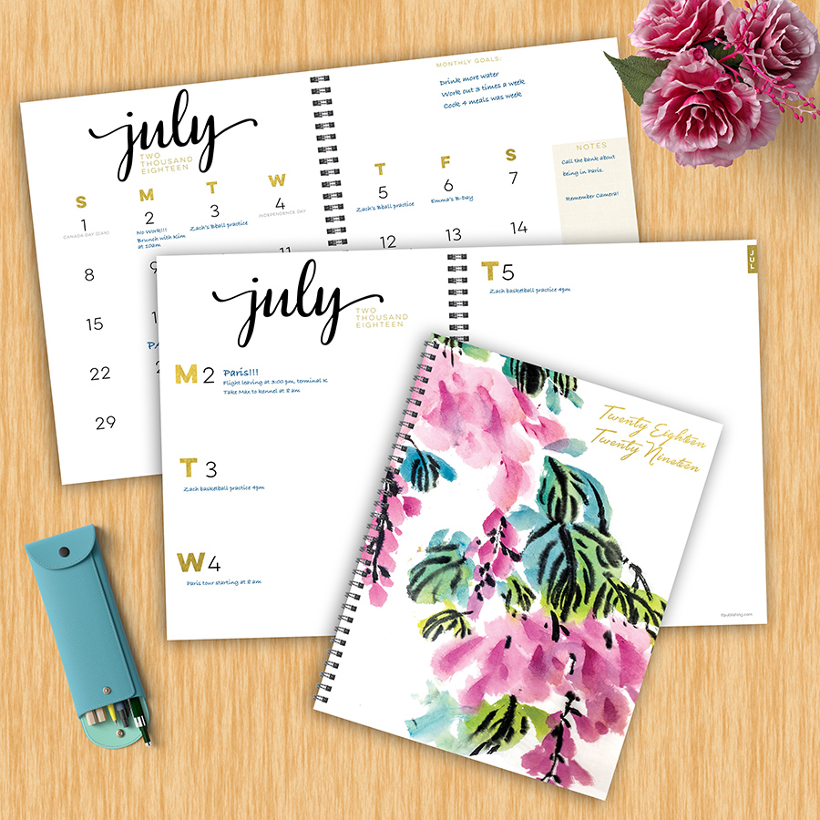 """2019 Floral Blossoms July 2018 June 2019 Academic Year 11""""x9"""" Large Weekly Monthly Planner by TF Publishing"""