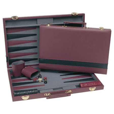 Black Leatherette Chess - Tournament Backgammon Set, Burgundy and Black Leatherette