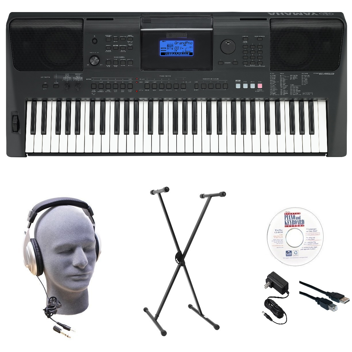 Yamaha PSRE453 Portable Keyboard with Headphones, X-Style Stand, Power Supply, USB, &... by Yamaha