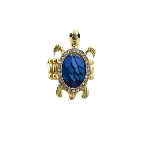 Blue Turtle Stretch Ring Jeweled Color Jeweled Captive Ring