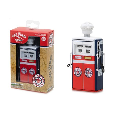 Vintage Iii Series - 1954 Tokheim 350 Twin Gas Red Crown Gasoline Gas Pump Replica Vintage Gas Pump Series 3 1/18 Diecast Model by Greenlight