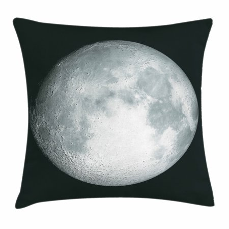 Galaxy Throw Pillow Cushion Cover, Moon Graphic Image Trippy Rock Detailed Surface Planet Astronomy Outer Space Print, Decorative Square Accent Pillow Case, 18 X 18 Inches, Grey Black, by Ambesonne
