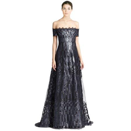 Rene Ruiz Art Deco Cap Sleeve Zigzag Pattern Evening Ball Gown Dress ...