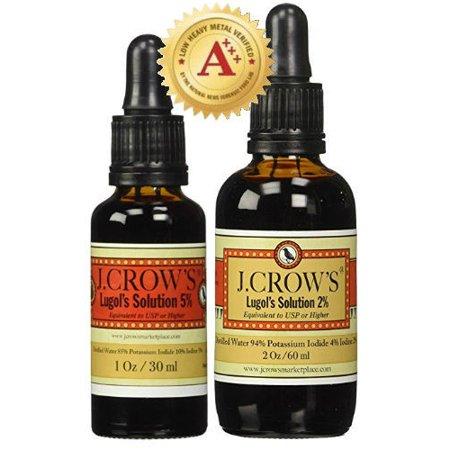 - J.CROW'S Lugol's Solution of Iodine 5% 1 oz Bottle + 2% 2 oz Bottle