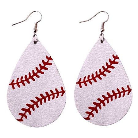Womens Teen Girls Baseball Teardrop Leather Dangle Earrings ()