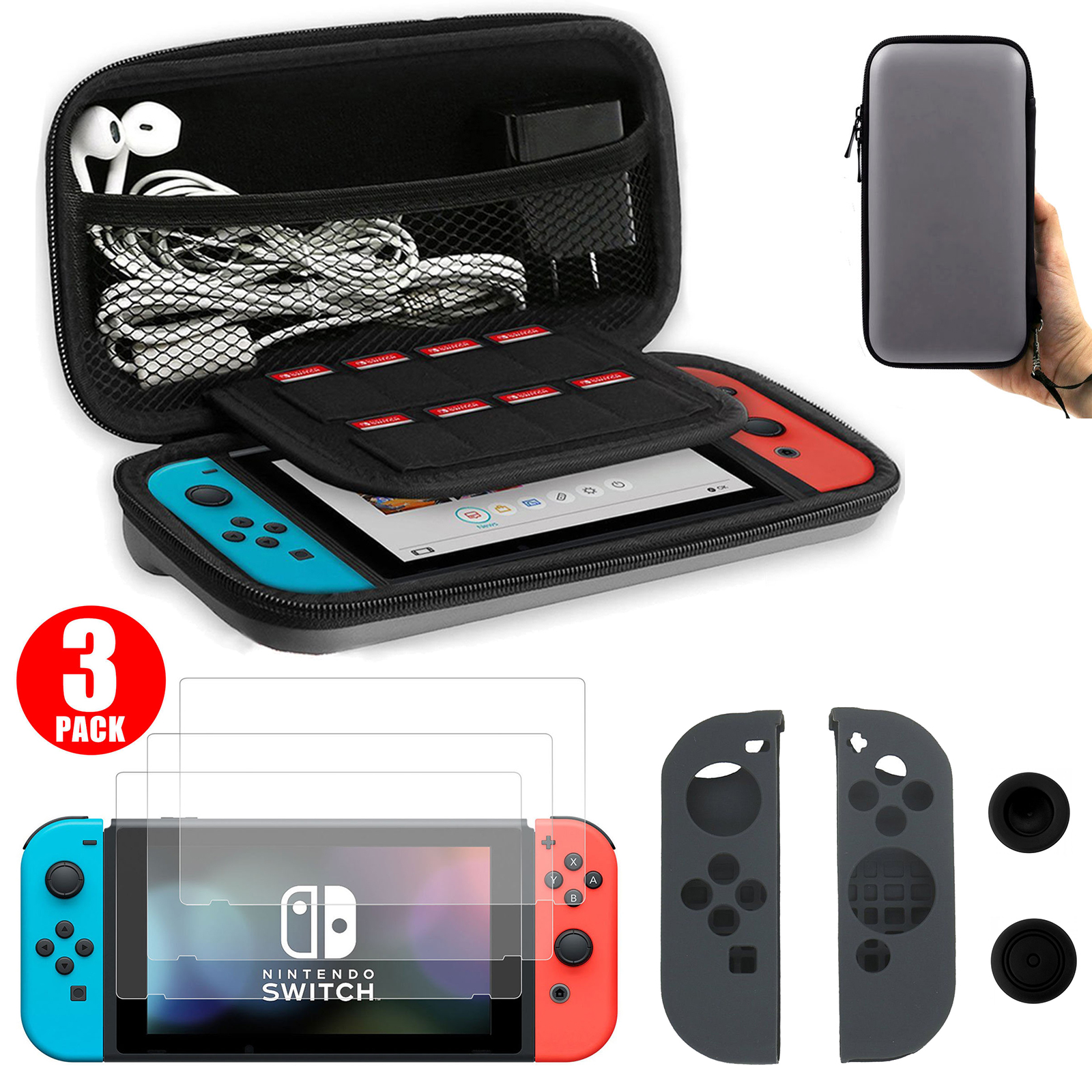 EEEKit 3in1 Protector Kit for Nintendo Switch, Carrying Travel Case Game Card Storage Bag, Joy Con Silicone Cover,3 Pack