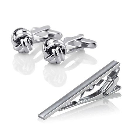 Zodaca Men Metal Necktie Tie Bar Clasp Clip Silver Tone Simple+Silver Knot Cufflinks