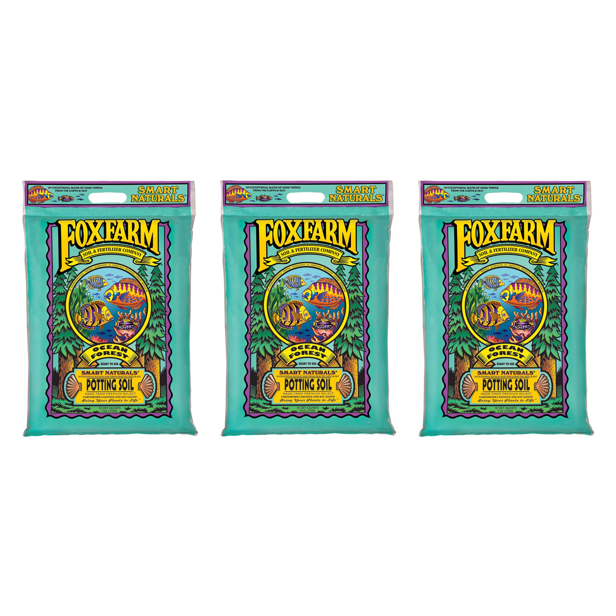 Foxfarm FX14053 12 Qt. Ocean Forest Garden Potting Soil Mix 6.3-6.8 pH (3 Pack)