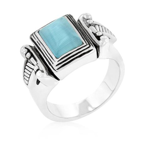 Genuine Rhodium Plated Vintage Ring with Blue Cats Eye Center Stone and Antique Accents in Silvertone - Size -