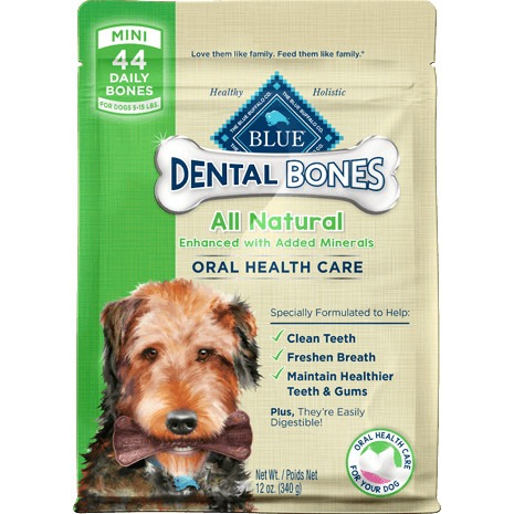Blue Dental Bones Mini Size For Dogs 5-15 lbs.