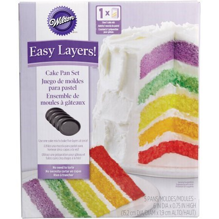 Wilton Easy Layers 5-Piece Layer Cake Pan Set, 6-Inch](Easy Halloween Cake Designs)