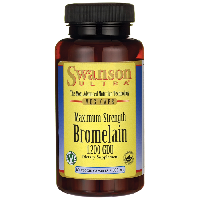 Swanson Maximum Strength Bromelain 1,200 Gdu 500 mg 60 Veg Caps