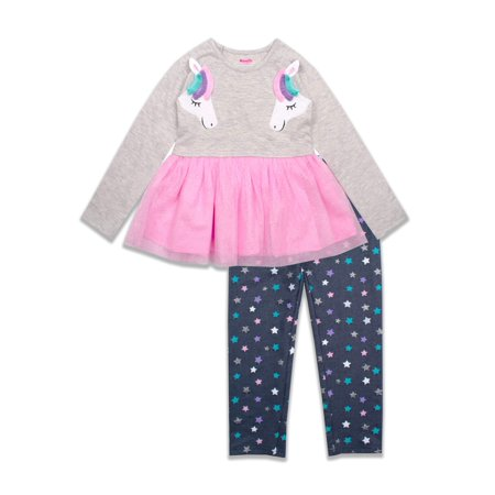 Nannette Baby Girl Unicorn Jersey Tutu Top and Denim Leggings , 2pc Outfit Set (Jersey Outlets)