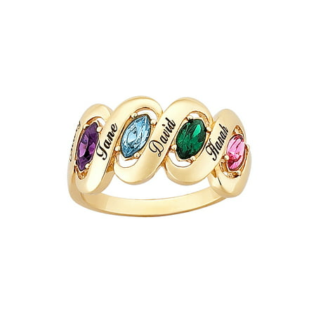 - Family Jewelry Personalized Mother's 14kt Gold-Plated Name and Birthstone Ribbon Ring
