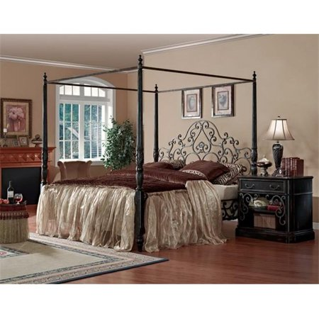 Eastern Legends 14591 Sorrento California King Metal Poster Bed With Canopy 65 X 83 5 X 87 5 In