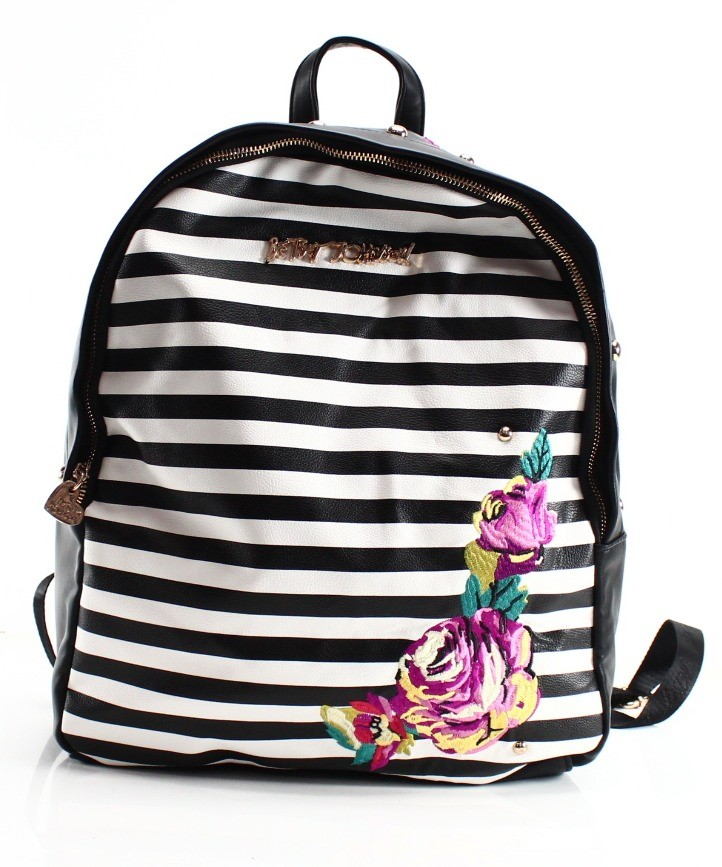 Betsey Johnson Black Embroidered Striped Zip Medium Backpack Bag