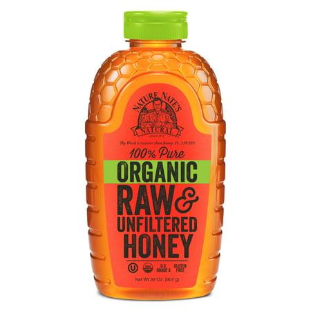 Nature Nate's Organic Honey, 100% Pure, Raw & Unfiltered Honey, 32 Oz
