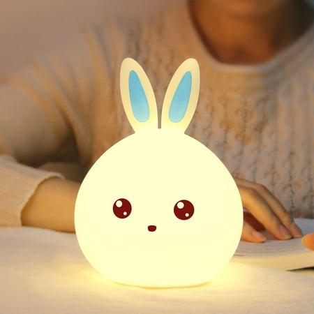 Silicone Led Night Light Cute Bunny Rabbit Baby Nursery Lamp