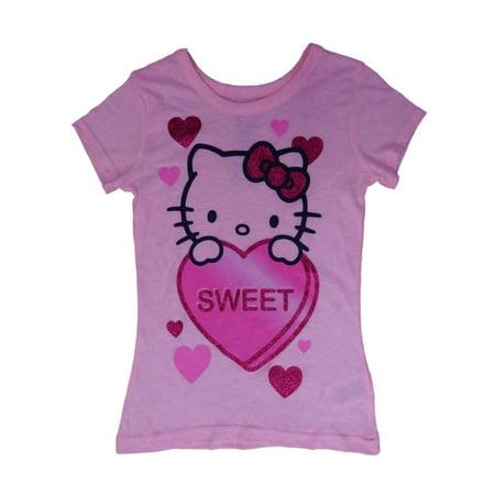 4cb67e901 Hello Kitty - Hello Kitty Girls Pink Sweet Heart Glitter Valentine Tee Shirt  T-Shirt - Walmart.com