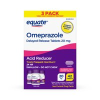 Equate Omeprazole Delayed Release Tablets 20 mg, Acid Reducer, Wildberry Mint Coated Tablet, 42 Count