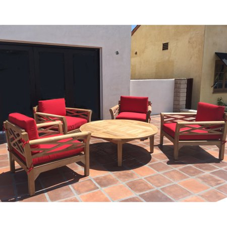 Willow Creek Designs Monterey Teak 5 Piece Deep Seating Patio Set with Chat Table ()