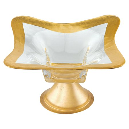 - Badash Crystal Footed Gold Leaf Square Glass Bowl