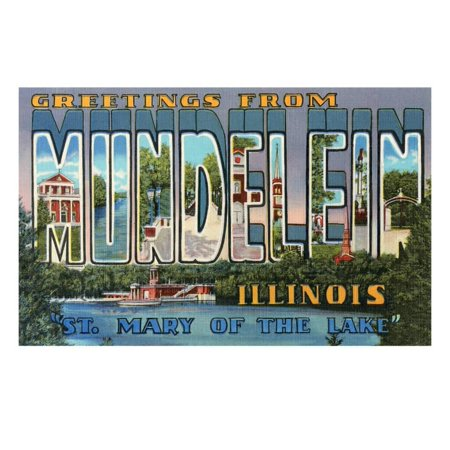 Greetings from Mundelein, Illinois, St. Mary of the Lake Laminated Print Wall Art - City Of Lake Mary Halloween