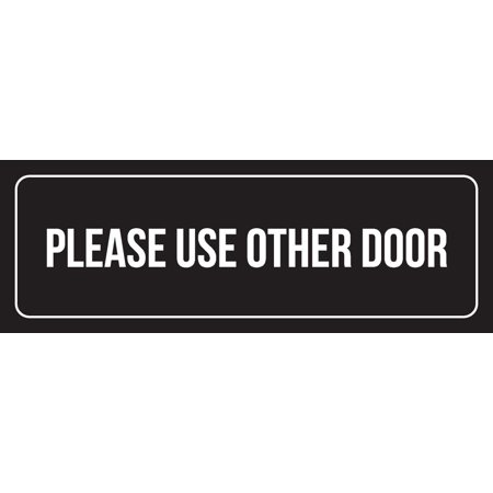 Black Background With White Font Please Use Other Door Office Plastic Wall Sign, 3x9 Inch (Please Use Other Door Halloween)