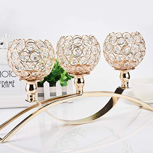 Home Holiday Decorative Bling Crystal Candle Holder Candlestick Decor Crafts