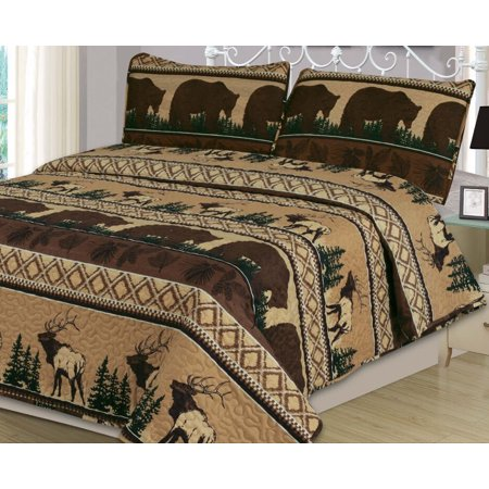 Twin Quilt Set 2 Piece Bear Elk Rustic Log Cabin Lodge, Brown, Tan, and Hunter Green