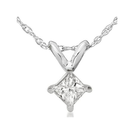 1/2ct Princess Cut Real Diamond Solitaire Pendant 14k White Gold New